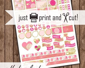 "Pink Floral Planner Stickers, Printable ""Pink and Gold Flowers"" Planner Sticker Kit"
