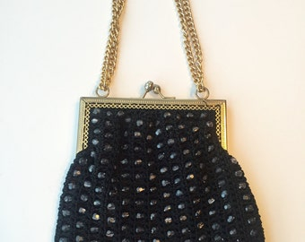 Bobbie Jerome black beaded & crocheted purse with clasp closure.  Made in Italy between 1947 - 1964.