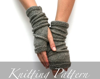 Knitting Pattern - Wrap Gauntlets - Fingerless Gloves Pattern - Knit Gloves - Apocalypse Knitting - Open Mittens - Arm Warmers Pattern