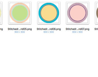 Set of Assorted Stitched Round Designs