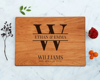 Unique Bridal Gift Monogram Couple Wood Cutting Board Personalized Wedding Present Engraved Custom Last Name Family Established Father Gifts