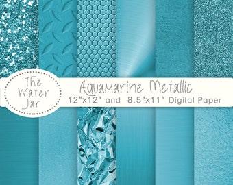 Aqua Blue Foil Texture digital papers and Aquamarine Metallic Glitter, Gold Textures, Brushed metal, Blue Green, Teal textures.