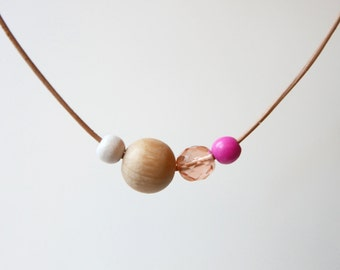 Pink Wooden Bead Statement Necklace