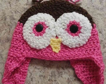 Owl Crochet hat with ear flaps *Ready to ship*