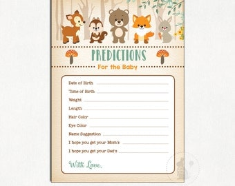WOODLAND BABY PREDICTION Card. Predictions for Baby. Guess Baby Stats. Woodland Baby Shower Game. Forest Baby Shower Activity. WOOD1