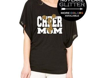 Cheer Mom Shirt GLITTER Flowy Draped Sleeve Dolman Tee // Off Shoulder or scoop - SM-2XL - Cheerleading gifts - Cheer shirt