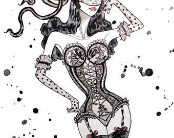 Fashion Illustration burlesque Art Poster Yes She CanCan
