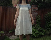 1900s 1910s 1930s Flour Sack Nightgown or Dress with Blue + White Crochet Yoke // small-medium