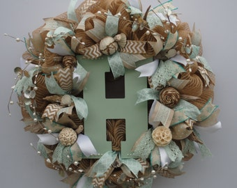 Beach Initial Wreath, Custom Initial Wreath, Everyday Wreath, Summer Burlap Initial Wreath, Shabby Chic Initial Wreath, Monogram Wreath