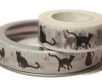 Cat Washi Tape. Shades of Black and White. 15mm x 10m