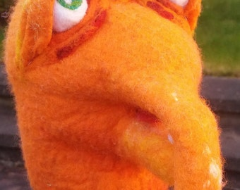 Felted Hand Puppet - Bright Orange Creature