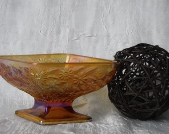 Amber Carnival Glass Diamond Pedestal Dish with Floral Design  Vintage 1960's Candy Dish