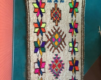 PARADE OF PINWHEELS- Vintage Moroccan Azilal rug 4'x9' #160