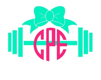 Barbell and Bow Monogram Decal - Gym Monogram - Workout Decal