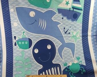 Nautical Nursery Panel, Comforter Panel Baby Blanket, Shark, Octopus, Sailboat, Crabs, Anchors, Whale, Starfish, Nursery Fabric, Ocean, Boat