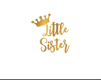 little sister gold foil clip art svg dxf file instant download silhouette cameo cricut digital scrapbooking commercial use