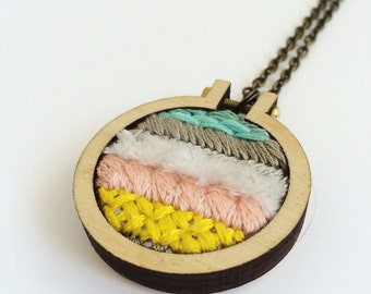Hand embroidered pendant necklace – white, pink, yellow, grey and aqua – mini embroidery hoop  – embroidered jewelry – gift for her