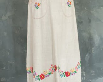Vintage 1970s Boho Chic Linen Maxi Skirt with Floral Embroidery