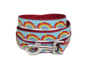 dog leash - star clouds rainbow dog leash - in the clouds large red dog leash - fun summer heavy duty large breed girl leash metal buckle