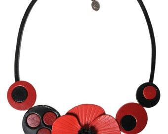 Choker leather poppy flower pop art
