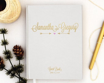 Wedding Guest Book Personalized Gold Guest Book Gold Guestbook Custom Guestbook pink gold Guest book Script faux Gold Foil Guest Book white
