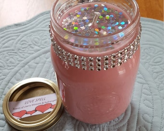 Organic, All-Natural Pink Love Spell Soy Candle in Mason Jar