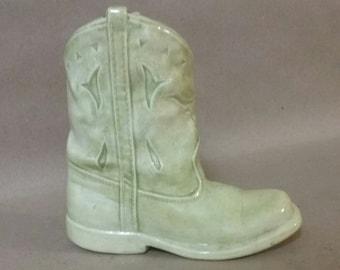 Vintage ceramic cowboy boot vase, primitive cowboy boot, cermaic boot vase, country cottage, cowboy decor, western decor