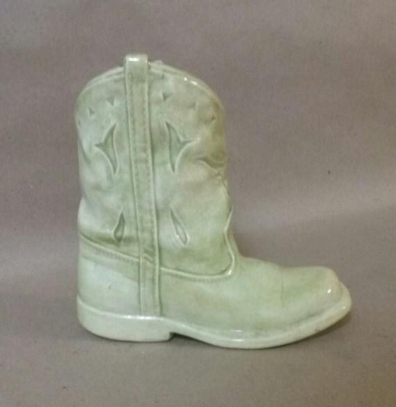 Vintage ceramic cowboy boot vase primitive cowboy boot