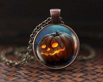 Halloween Pumpkin necklace, Halloween Pumpkin pendant, Halloween jewelry, Trick or Treat Halloween Pendant