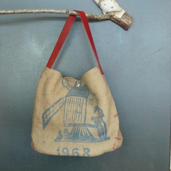 Tr s original panier en toile de jute ancienne publicitaire for Toile publicitaire exterieur