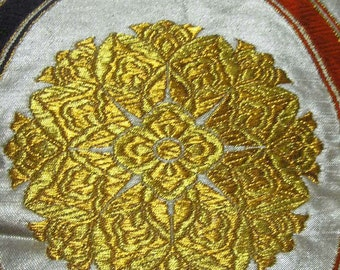 Vintage kimono/Obi/formal sash/silk fabric/kusudama/embroidery/gold/silver/green/red/purple/orange/wave/material/handmade
