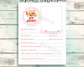 Cute Aunt Printable Questionnaire for kids, All about my Aunt keepsake interview, I love my aunt printable gift, Mother's Day Gift