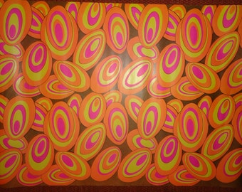 Vintage 1970's Psychedelic Swirls Gift Wrapping Paper Austin Powers - 1 Unused Sheet All Ocassion Gift Wrap - Groovy Funky Cool