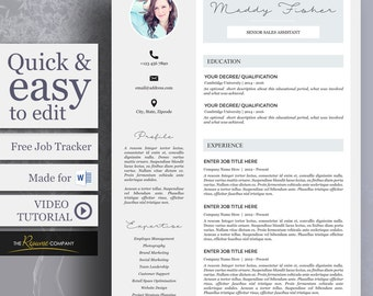 CV / Resume 4pc Template Pack including Resume, Cover Letter, References Page, Job Tracker, Made for Word | Digital Download | Fisher Theme