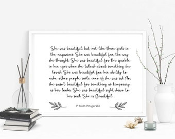F Scott Fitzgerald quote printable, She is beautiful, instant digital download, gift, present, inspirational, wedding gift, anniversary