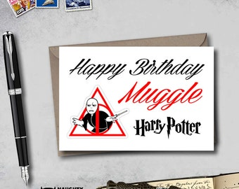 Harry Potter Birthday card, Muggle Birthday card, hogwart birthday card, funny birthday card for boyfriend, harry potter muggle card