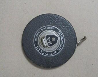Vintage Tape Measure, Favorite Wyteface, 50 FT, Keuffel & Esser Co, Industrial, Decor