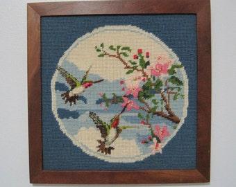 Hummingbird Needlepoint Wall Hanging, Vintage