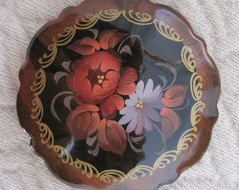 Russian Floral Painted Brooch