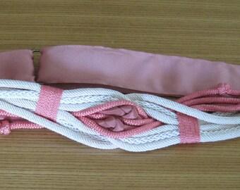 Rope BELT, Rose pink & Ivory colored, Velcro, 1980, Vintage