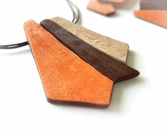 Orange necklace, Orange pendant necklace, Orange jewelry, Bohemian necklace, Tribal statement necklace, Unique necklaces for women, Brown