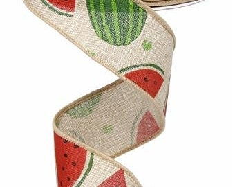 "1.5""X10yd Watermelon Slices On Royal Natural/Pink/Green RG0121818"