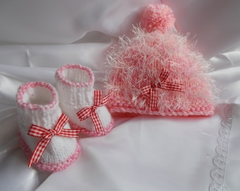 bonnet and booties baby baby girl pink bonnet and boot made wool hand