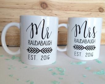 Personalized Mr. and Mrs. Mug Set - Set of 2