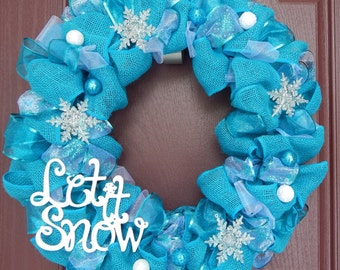 Winter Wreath, Burlap Wreath, Snow, Winter, Turquoise, Turquoise Wreath, Turquoise Burlap, Snowflake