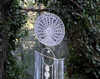 Urika, Large Bohemian Dreamcatcher decorated with doily and driftwood