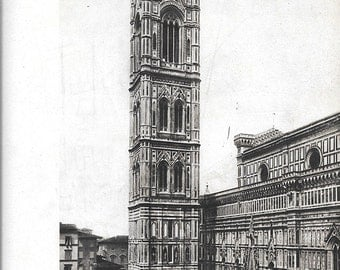Giotto tower Florence print Vintage Italy print Italy photograph Florence photo Italian architecture  BW Italy photo Italy retro photo