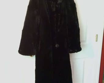 Real Fur Coat, Black, Full Length, Vintage 1940s, Small Size