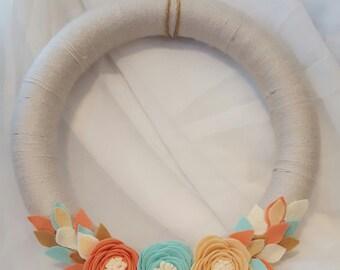 Pastel felt flower wreath