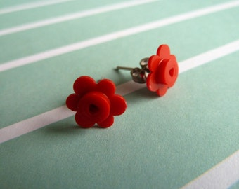 Red flower Lego® earrings - hypoallergenic - quirky kitsch fun gift